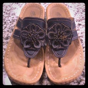 Tan and Navy Sandals 8 1/2